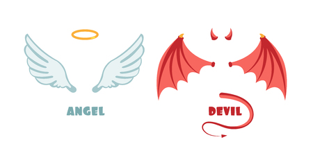 Nobody angel and devil suit. Innocent and mischief vector symbols Stock fotó - 97684885