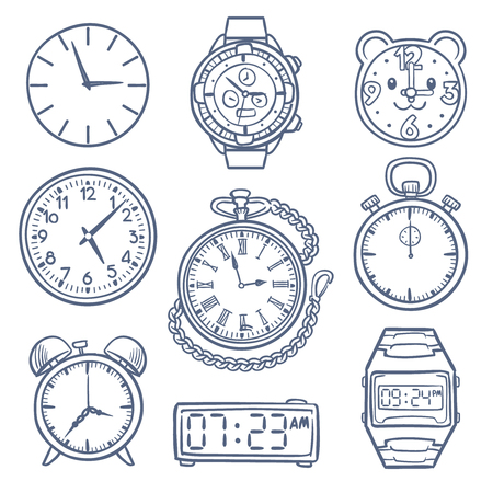 Doodle watch, clock vector icons. Hand drawn time vector icons isolated