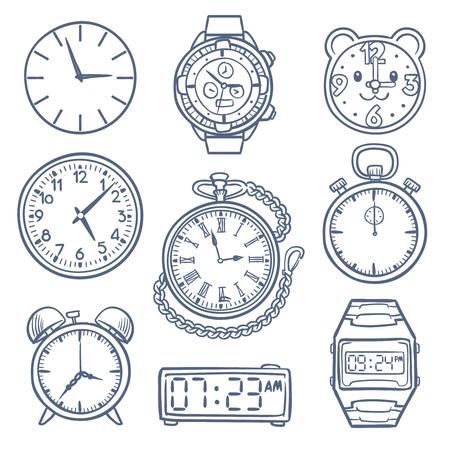 Doodle horloge, klok vector iconen. Hand getrokken tijd vector iconen geïsoleerd Vector Illustratie