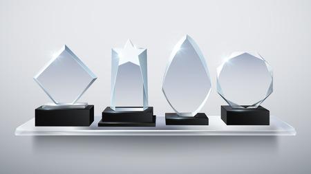 Realistic glass trophy awards, transparent diamond winner prizes on shelf vector illustration Foto de archivo