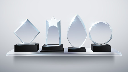 Realistic glass trophy awards, transparent diamond winner prizes on shelf vector illustration 免版税图像