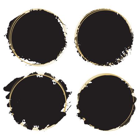 Decorative grunge design elements - black paint artistic round frames