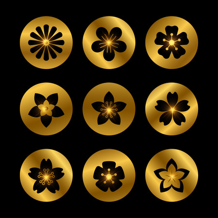 Stylish golden icons with flowers silhouettes