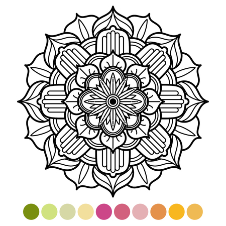 Anti-stress mandala coloring page with colors sample 向量圖像