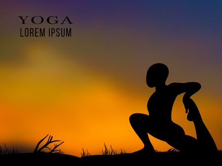 Yoga training on sunset background