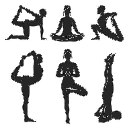 Popular yoga pilates positions silhouette set Stock Illustratie