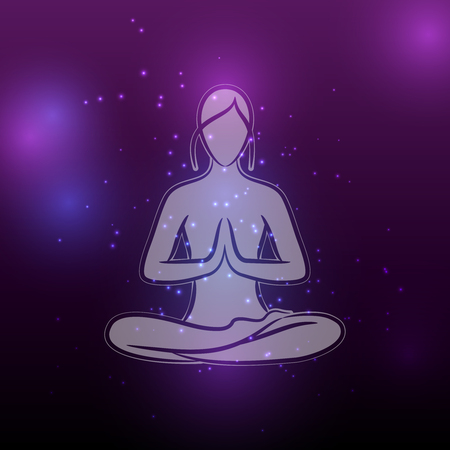 Shiny yoga meditation female silhouette Stock Illustratie