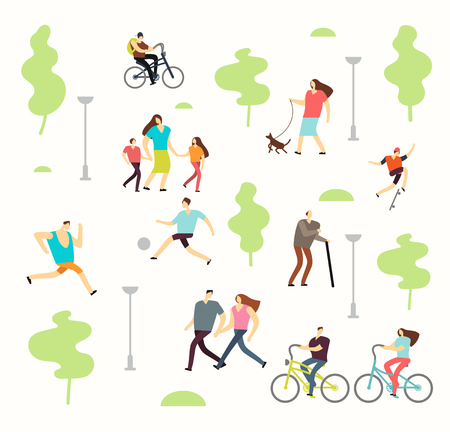 Happy active people in various lifestyles in spring park with trees. Man and woman walking outdoor Иллюстрация