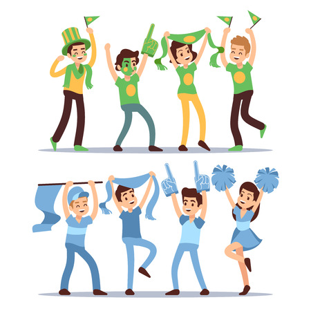 Happy sports fun teams. Group shouting supporting people vector set Stock Illustratie