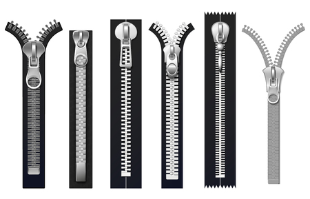 Clothing fasteners, metal zippers isolated vector set