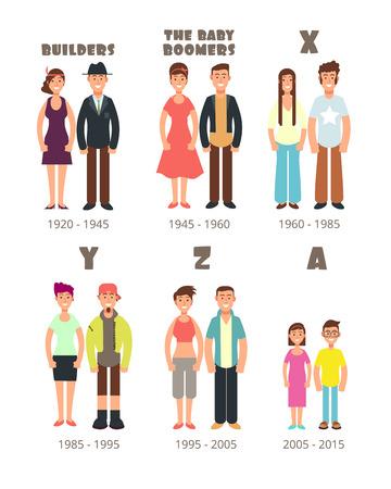 Baby boomer, x generazione icone vettoriali persone