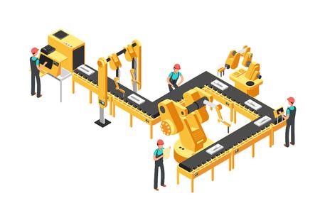 Línea de producción automatizada, transportador de fábrica con trabajadores y concepto de vector industrial isométrico de brazos robóticos