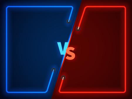 Versus battle, pantalla de confrontación empresarial con marcos de neón y vs logo ilustración vectorial