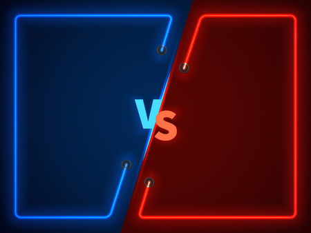 Versus bitwa, ekran konfrontacji biznesowej z neonowymi ramkami i ilustracją wektorową logo vs