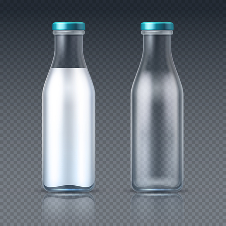 Glass beverage bottles empty and with milk. Dairy product packaging isolated vector mockup