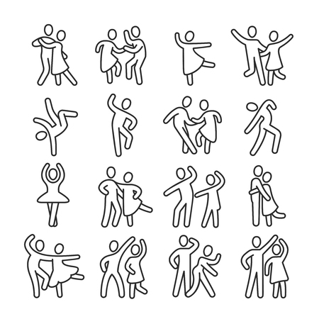 Happy dancing woman and man couple icons. Disco dance lifestyle vector pictograms