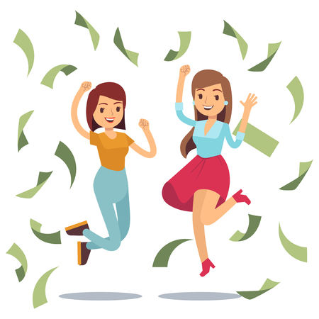 Happy successful housewifes in money rain. Happy jumping women and money