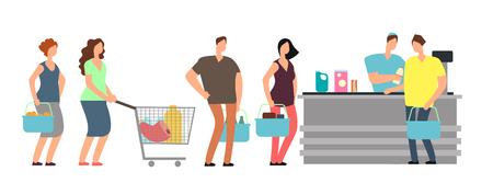 Big queue shopping people at cash desk with cashier in supermarket cartoon vector illustration 일러스트