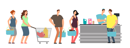 Big queue shopping people at cash desk with cashier in supermarket cartoon vector illustration Stock Illustratie