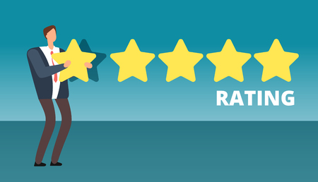 Businessman giving five star rank. Best work quality and customer service feedback vector concept
