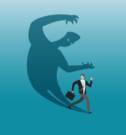 Scared businessman running away in panic from own shadow. Anxiety and conflict vector business concept Illustration