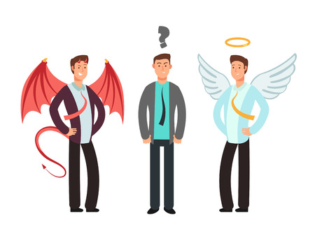 Confused businessman with angel and devil over shoulders. Choose vector concept Vectores