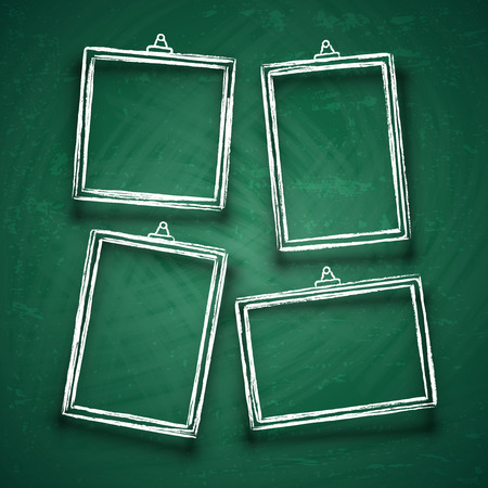 Chalk cute photo frames. Abstract picture frame borders for wedding invitation isolated on blackboard vector set