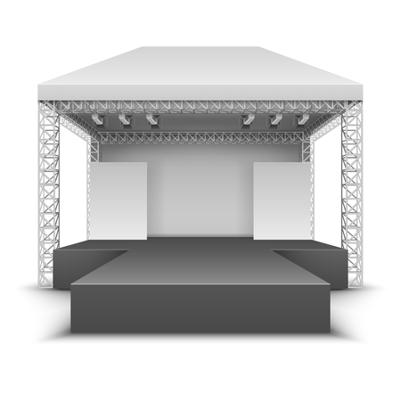 Outdoor music festival stage. Rock concert scene with spotlights isolated vector illustration Vettoriali