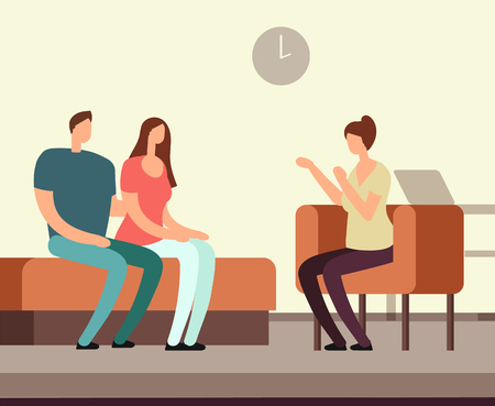 Patient on couch counseling with psychologist. Addiction mental therapy vector concept