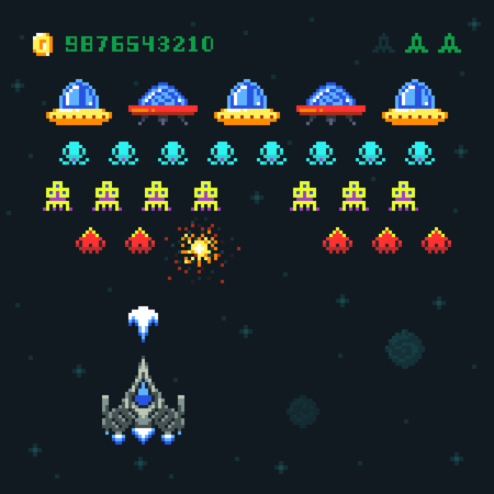 Vintage video space arcade game vector pixel design with spaceship shooting bullets and aliens