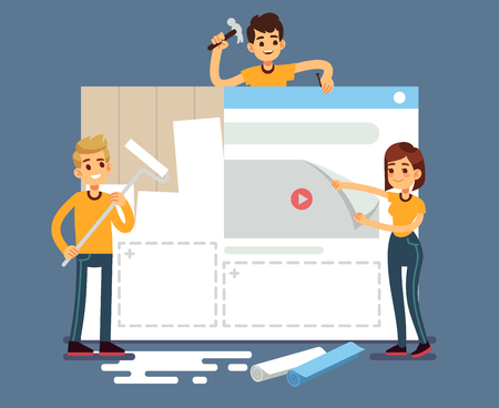 Website development with developers creating content. Web construction vector concept Illustration