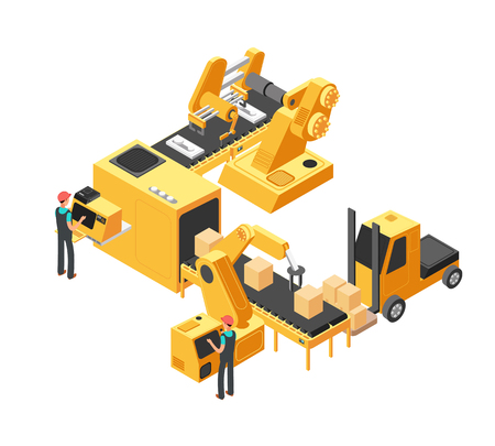 Industrial manufacturing conveyor line with packaging equipment and factory workers. 3d isometric vector illustration. Equipment conveyor production, factory manufacturing, machine process industry