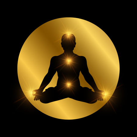 Spiritual indian chakra symbol. Meditation man silhouette with shiny elements. Vector body silhouette in lotus pose illustration