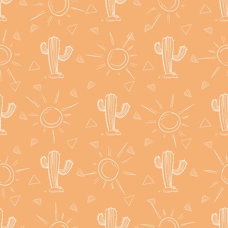 Chalk hand drawn cactus and sun seamless pattern. Vector illustration