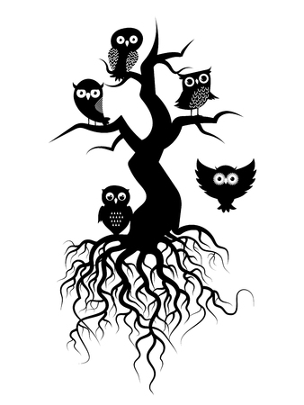 Old tree vector black silhouettes with roots and owls on white illustration