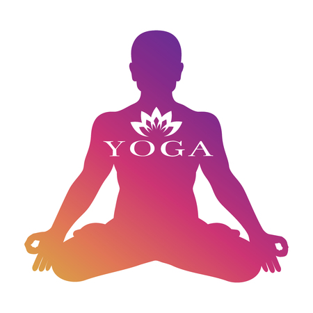 Yoga logo vector design. Meditation male silhouette isolated on white background
