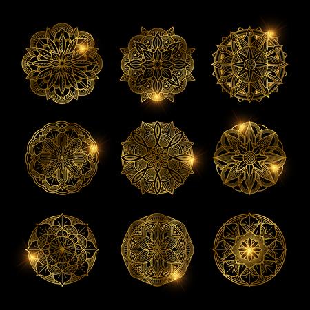 Set of shiny golden flower mandala vector illustration.