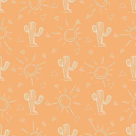 Chalk hand drawn cactus and sun seamless pattern