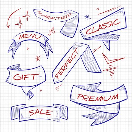 Sketch shopping, trade, advertising banners design on white. Vector illustration Illustration
