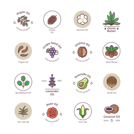 Skincare and beauty organic cosmetics oil vector line emblems and logos