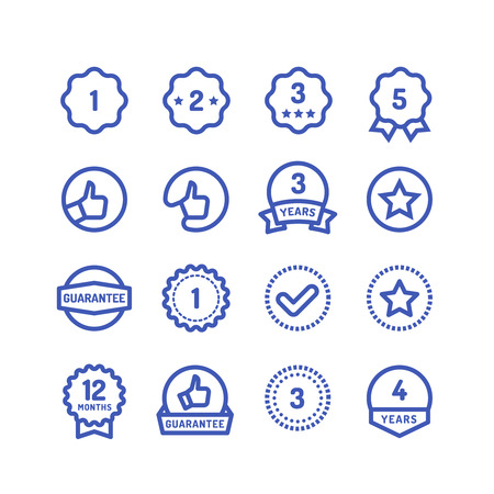 Warranty stamps line icons. Goods durability guarantee circular vector symbols isolated