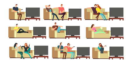Happy family at home watching tv. Young couple resting on comfortable couch vector set Ilustração