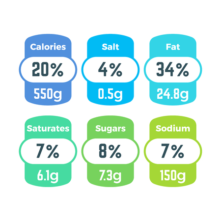 Healthy food packing nutrition labels with calories and grams information vector set