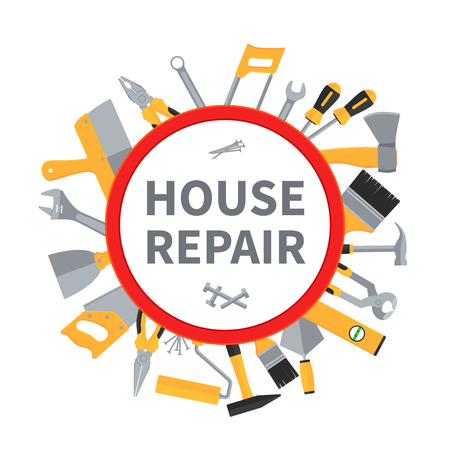 House repair and remodeling vector background with construction tools