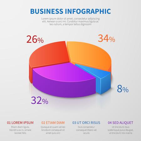 Diseño de vector de gráfico 3d de gráfico circular con porcentajes y opciones para presentación de negocios