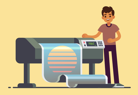 Man worker at plotter printing wide format large banner vector illustration Stock Illustratie