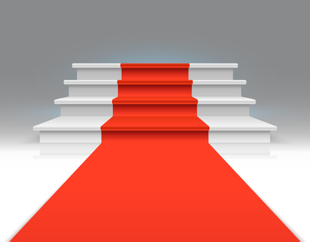 Red carpet on white walking stairs. Success, business growth and award vector abstract exclusive background