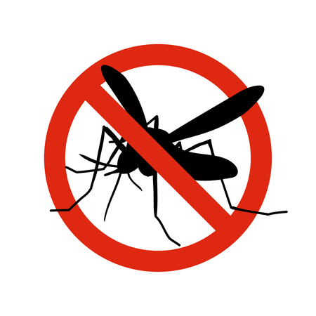 Mosquito warning prohibited sign. Anti mosquitoes, insect control vector symbol