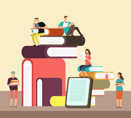 Hombre y mujer leyendo libros. Concepto plano de dibujos animados de personas y libro idea creativa. Cartel del vector del festival del libro