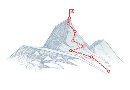 Mountain climbing route to peak. Business journey path in progress to success vector concept Stock Illustratie
